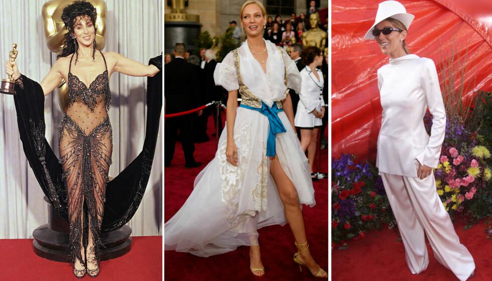 ANTREKKENE SOM HUSKES: Cher, Uma Thurman og Céline Dion er bare et knippe av stjernene som har toppet «verst kledd»-listene etter Oscar-utdelingen. Foto: NTB scanpix