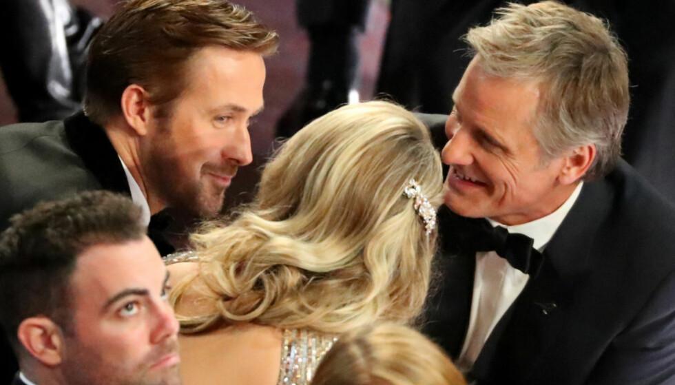 <strong>MYSTISK DATE:</strong> Skuespiller Ryan Gosling hadde med seg en blondine som date til nattas Oscar-utdeling. Foto: NTB Scanpix