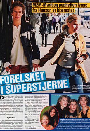 DATET ISAAC: Marit Larsen og Isaac Hanson møtte hverandre mens Marit var med i duoen M2M, og Isaac besøkte henne blant annet i Norge. Foto: Se og Hør faksimile