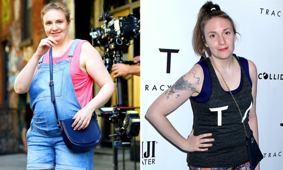 FØR OG NÅ: Bildet av Lena Dunham til venstre er tatt for et år siden, mens bildet til høyre viser hvordan hun ser ut nå. Foto: NTB scanpix