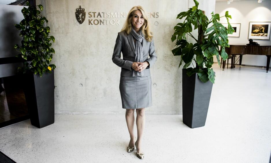 STO BRUD: Høyre-politiker og statssekretær Julie Brodtkorb (43) har giftet seg. Her avbildet ved statsministerens kontor. Foto: Lars Eivind Bones / Dagbladet