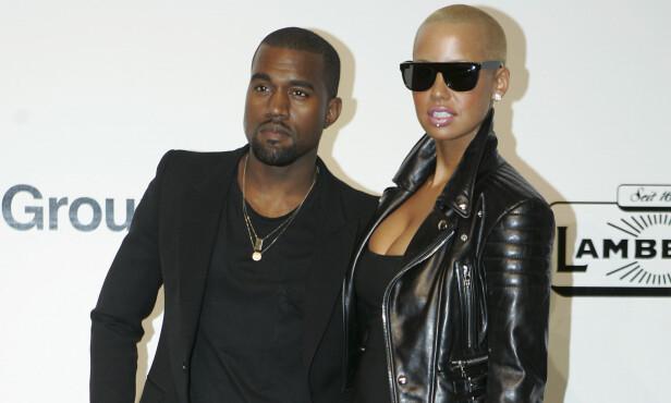 SLUTT: Kanye West og Amber Rose var ikke sammen mange måneder ført det ble slutt. Foto: NTB scanpix