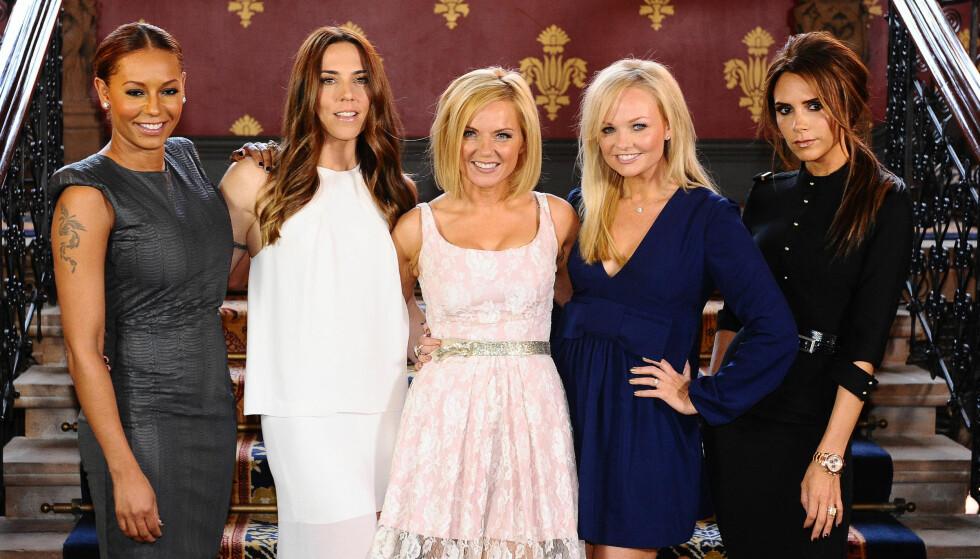 <strong>STOR SUKSESS:</strong> Spice Girls er for mange synonymt med 90-tallet, da jentene var på toppen av hitlister verden over. Låter som «Wannabe» og «Stop» er fortsatt å høre den dag i dag. Her er under gjenforening i 2012. Foto: AP Photo/Mike Stephens, NTB scanpix