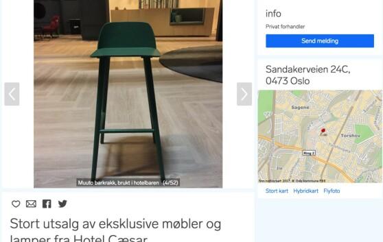 KRAKK: «Hotel Cæsars« barkrakker selges for 1900 kroner pr stk. Foto: Skjermdump fra Finn.