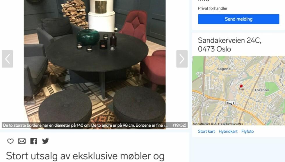 SELGES: Det store bordet selges for 400 kroner, mens stolene og krakkene har andre priser. Foto: Skjermdump fra Finn.