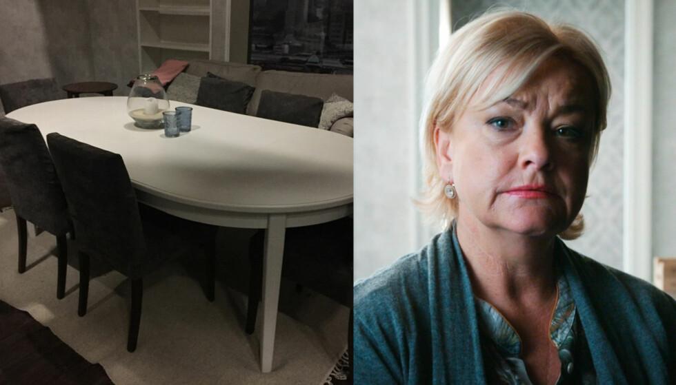 SPISESTUE: Om du vil sitte rundt spisestuen hvor Juni og resten av familien har sittet gjennom serien er det nå du skal slå til. Foto: Skjermdump fra Finn / TV 2
