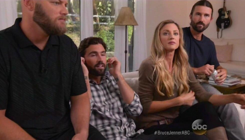 BARNEFLOKKEN: Caitlyn Jenners datter, Cassandra, sammen med Caitlyns sønnerr Burt (t.v), Brody og Brandon. Foto: Xposure