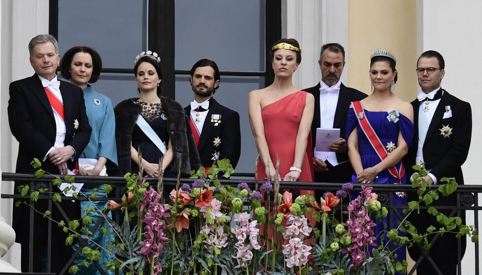 KORT REISEVEI: Her ser vi blant annet prins Carl Philip, prinsesse Sofia, kronprinsesse Victoria og prins Daniel pyntet til fest på Slottet. NTB scanpix