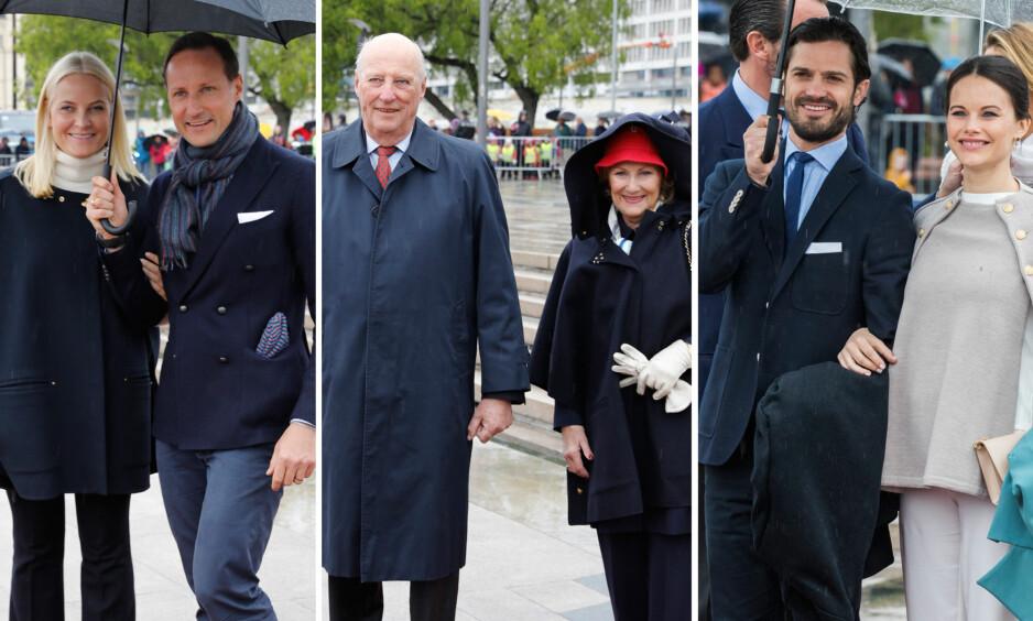 STRÅLTE: Både kronprinsesse Mette-Marit, kronprins Haakon, kong Harald, dronning Sonja, prins Carl Philip og prinsesse Sofia av Sverige trosset været for kongeparets 80-årsfeiring onsdag formiddag. Foto: NTB Scanpix