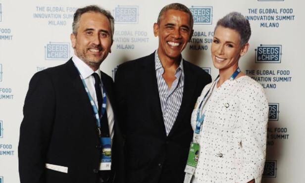 <strong>KONFERANSE:</strong> Gunhild Stordalen møtte den tidligere amerikanske presidenten Barack Obama på konferanse i Milano tidligere i år. Foto: Instagram / Gunhild Stordalen