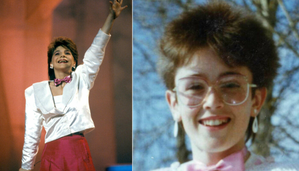 MOTEFORBILDE: I 1986 vant 13 år gamle Sandra Kim fra Belgia ESC-finalen i Bergen (t.v.). Ingeborg Heldal lot seg gladelig inspirere av både sveisen og den rosa tversoversløyfa. Foto: NTB Scanpix / Privat