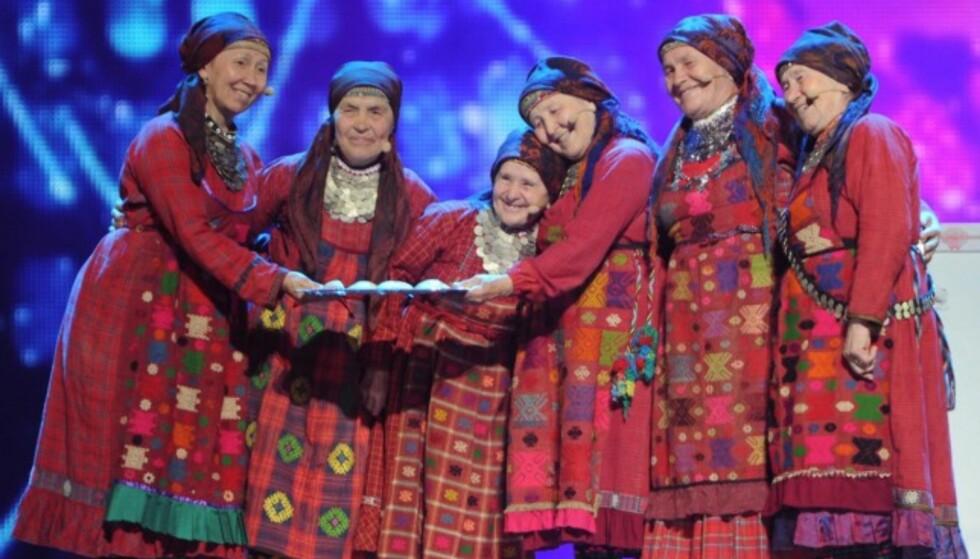 ORIGINALT: I 2012 kom Buranovskiye Babushki fra Russland på annenplass i ESC-finalen med låta «Party for Everybody» - og litt brødbakst. Foto: AFP/ NTB scanpix