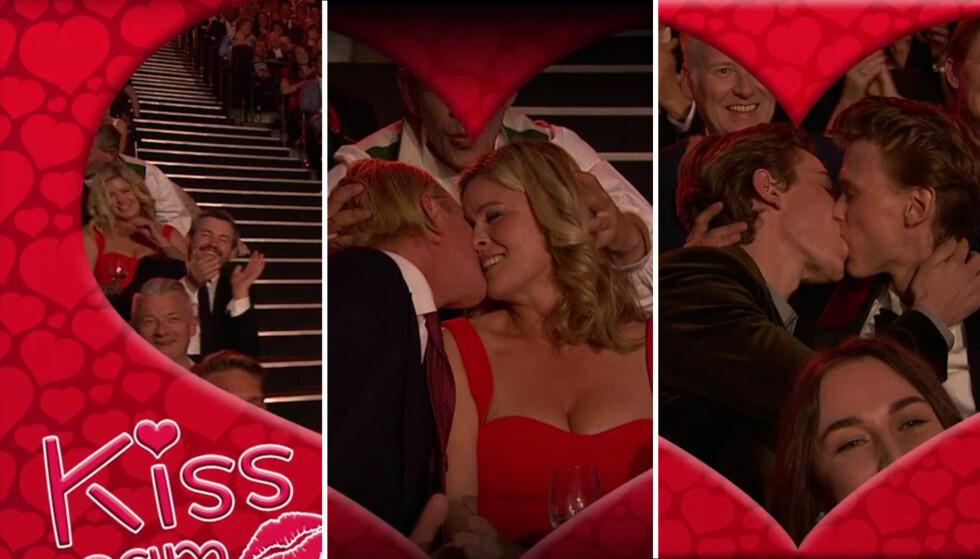 KISS ME QUICK: Flere av årets TV-profiler fulgte oppfordringen om å kysse under Gullrutens «Kiss Cam». Foto: TV 2.