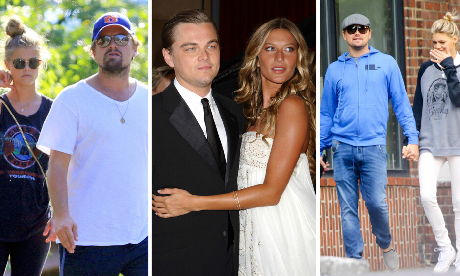 FALLER FOR SKJØNNHETENE: Leonardo DiCaprio har draget på vakre, unge modeller. Fra høyre: Nina Agdal, Gisele Bündchen og Kelly Rorhbach. Foto: NTB scanpix