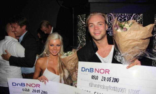 DELTE PENGENE: Carl Eliassen og Tine Helene Valle valgte å dele premiepotten på 300 000 kroner, da de gikk til topps i TV3-realityserien «Paradise Hotel» Foto: Sølve Hindhamar / Seoghør.no