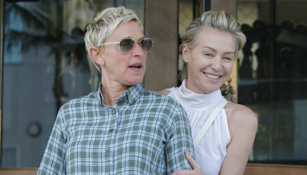 VIL BLI FORELDRE: Ellen DeGeneres og Portia de Rossi prøver angivelig nå å bli foreldre. Det barn kan ifølge venner av dem redde det trøblete ekteskapet deres. Foto: Splash News, NTB scanpix