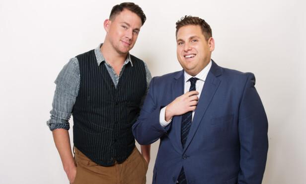 FIKK HJELP: Channing Tatum (t.v.) skal ha fortalt Jonah Hill at det ikke var mye som skulle til for å gå ned i vekt. Foto: NTB scanpix