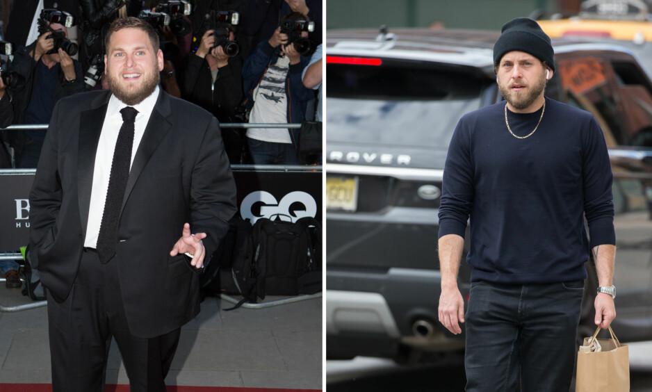 DRASTISK VEKTNEDGANG: Skuespiller Jonah Hill skal ha slanket bort 20 kilo i løpet av de siste årene. Bildet av ham til venstre er fra 2014, mens bildet til høyre er tatt for kun et par uker siden. Foto: NTB scanpix