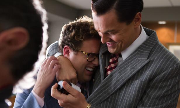 GODE VENNER: Jonah Hill og Leonardo DiCaprio i filmen «The Wolf of Wall Street». Foto: NTB Scanpix