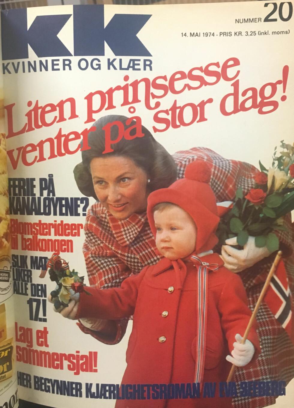 FORSIDEPIKER: 14. mai 1974 prydet kronprinsesse Sonja og lille prinsesse Märtha Louise KKs forside. FOTO: Faksimile KK