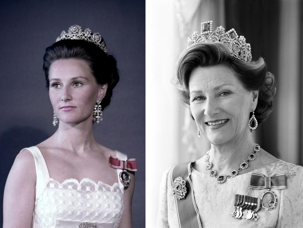 DRONNING SONJA: I 27 år har Sonja vært Norges dronning - og hun har gjennomført oppgaven hun i 1991 trådde inn i som 53-åring, med en varme og hengivenhet som er blitt satt pris på av hele det norske folk. Bildet til venstre er tatt i 1970, mens bildet til høyre er tatt i 2010. Legg merke til hvor lik prinsesse Ingrid Alexandra (14) er bestemor Sonja! FOTO: NTB Scanpix og Cathrine Wessel for Det Kongelige Hoff
