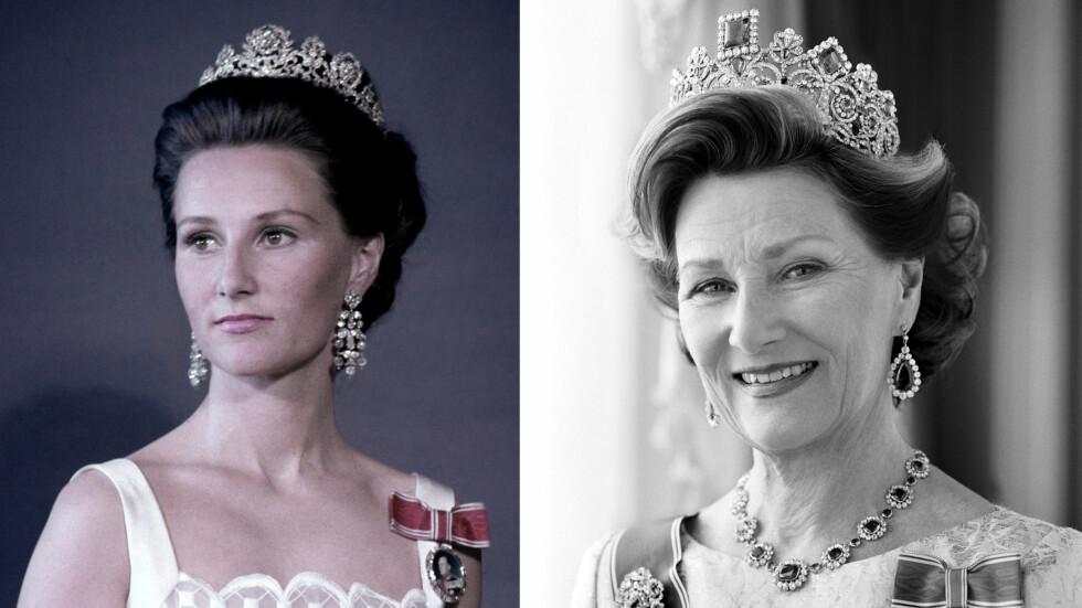 DRONNING SONJA: Sonja har vært Norges dronning i 30 år - og hun har gjennomført oppgaven hun i 1991 trådde inn i som 53-åring, med en varme og hengivenhet som er blitt satt pris på av hele det norske folk. Bildet til venstre er tatt i 1970, mens bildet til høyre er tatt i 2006. Legg merke til hvor lik prinsesse Ingrid Alexandra er bestemor Sonja! Foto: NTB og Cathrine Wessel for Det Kongelige Hoff