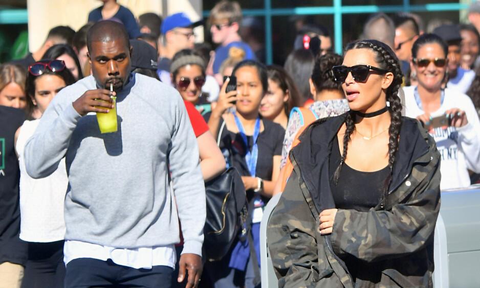 BLIR FORELDRE: Om alt går etter planen skal angivelig Kanye og Kim bli foreldre for tredje gang. Foto: NTB scanpix
