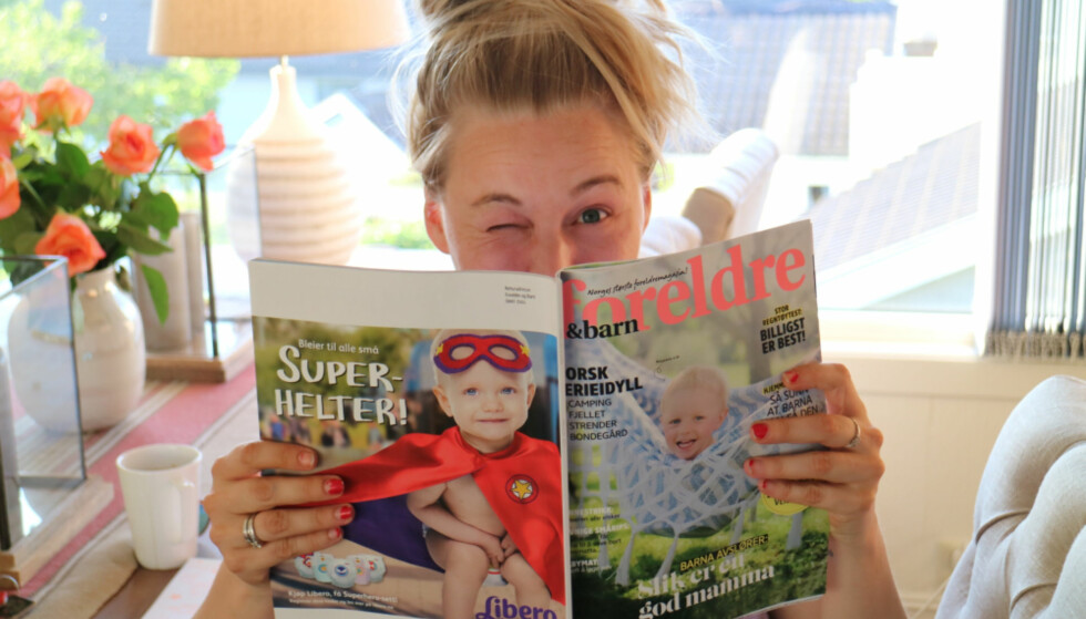 SELVIRONI: Line Victoria Husby-Sørensen er opptatt av å formidle et humoristisk - og ærlig - bilde av det å bli mor på bloggen sin. Foto: Privat