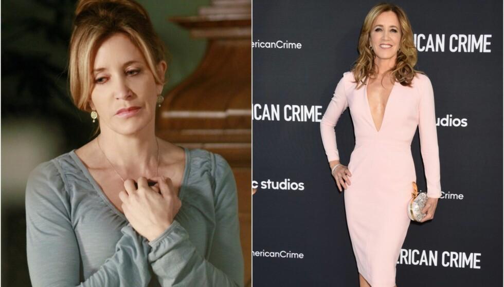 <strong>FØR/NÅ:</strong> Heller ikke Felicity Huffman har forandret seg særlig mye siden «Frustrerte fruer» (t.v) i 2011. Her er hun på rød løper i forbindelse med «American Crime». Foto: TV 2 / NTB scanpix