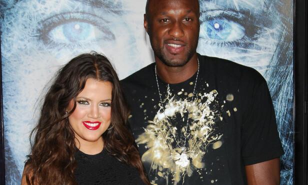 LYKKELIGE TIDER: Khloé Kardashian og Lamar Odom avbildet sammen i september 2009, kort tid etter at de møttes og få uker før de giftet seg. Foto: Splash News/ NTB scanpix