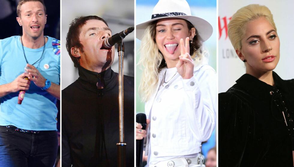 LIKER IKKE EGNE SANGER: Chris Martin, Liam Gallagher, Miley Cyrus og Lady Gaga. Foto: NTB Scanpix