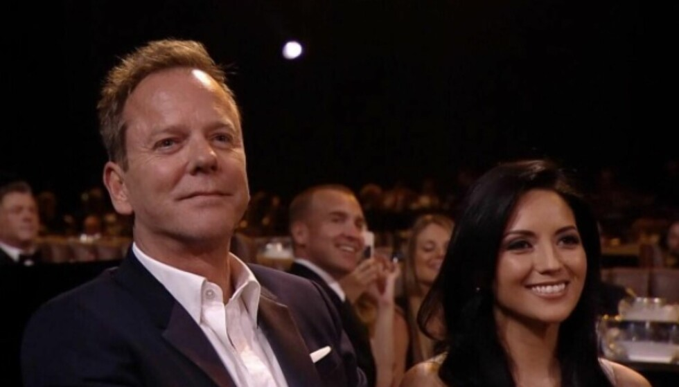 LYKKELIG: Her er Kiefer og Cindy sammen under årets Guys Choice Award i vår. Foto: Cindy Vela/Instagram