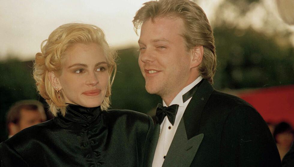 EKS-FORLOVEDEN: Julia Roberts og Kiefer Sutherland var i midten av 20-årene da de forlovet seg. Her er duoen sammen under Oscar-utdelingen i mars 1991 - tre måneder før bryllupet ble avlyst. Foto: NTB Scanpix
