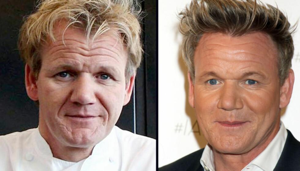 FIKSET RYNKENE: For åtte år siden så Gordon Ramsay langt eldre ut enn han gjør i dag. Bildet til venstre er fra 2009, mens bildet til høyre er tatt i fjor sommer. Foto: NTB Scanpix