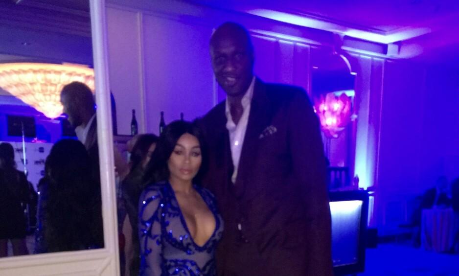 VEKKER OPPSIKT: Blac Chyna og Lamar Odom har begge vært i et forhold med en fra Kardashian-Familien. Nå stilte de to stjernene opp på bilde sammen til full forvirring. Foto: Splash News / NTB Scanpix