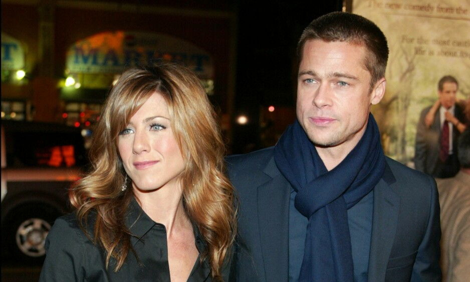 GJENFORENES: Jennifer og Brad var sammen før Brad ble sammen med Angelina, og bruddet mellom dem var vondt. Nå vil talkshowverten Jimmy Kimmel gjenforene de i eget talkshow. Foto: NTB scanpix