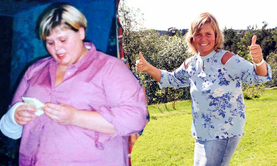 FØR OG NÅ: Våren 2002 var Marianne på sitt tyngste. På bildet til venstre veide hun hele 150 kilo. Her er Marianne på sitt tyngste. I dag (t.h) er Marianne Knudsen (41) fra Frekhaug utenfor Bergen 60 kilo lettere. FOTO : BENT ARE SIGVALDSEN / SE OG HØR