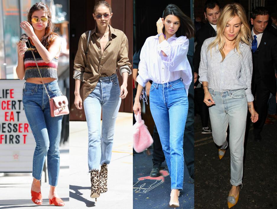 """Selena Gomez, Gigi Hadid, Kendall Jenner og Sienna Miller er enige: Blå """"mom jeans"""" passer til alt! Foto: NTB Scanpix"""