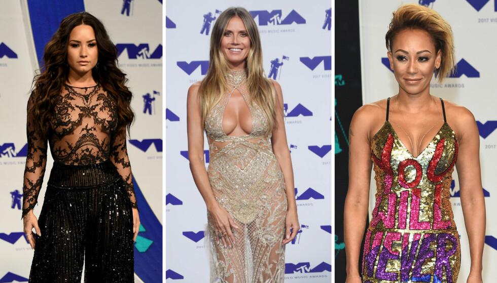 NORSK KJOLE: Demi Lovato (t.v.) og Mel B fikk mye oppmerksomhet på MTV-løperen, men Heidi Klum var blant de som glitret mest i sin norskdesignete Peter Dundas-kjole. Foto: NTB Scanpix