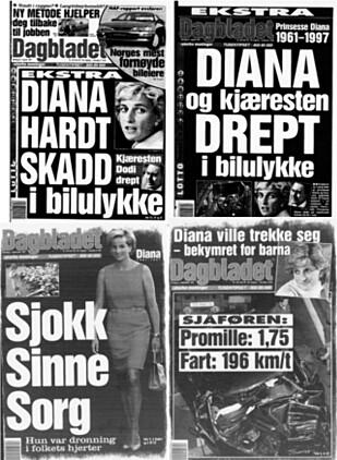 STORT: I likhet med resten av verden fulgte Dagbladet Dianas dødskrasj tett i dagene som fulgte. Her fra forsida av papirutgaven 31. august (begge øverst), 1 og 2. september 1997.