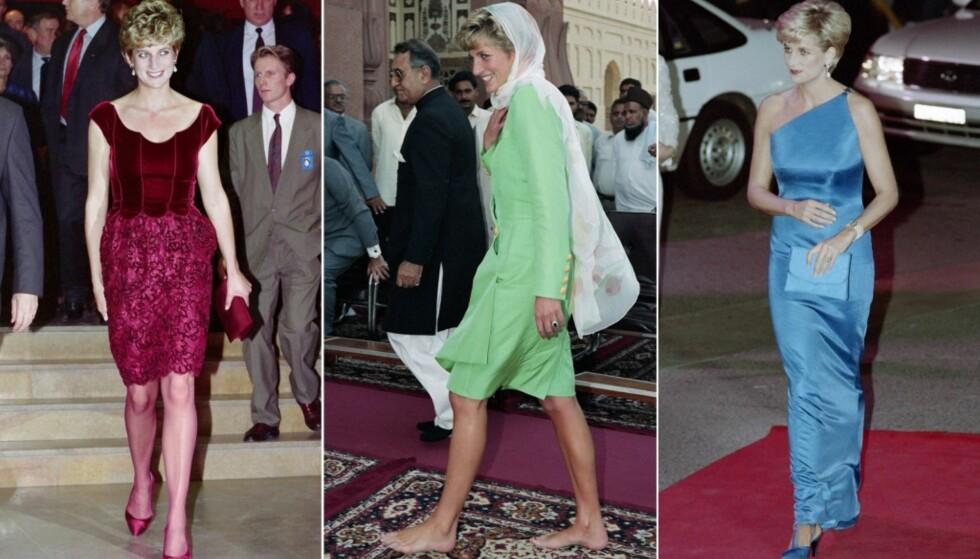 STILIG: Diana var kjent for å bruke sterke farger, gjerne i form av italienske og franske luksuskjoler. Her er hun fotografert i 1992, 1991 og 1996. Foto: NTB scanpix