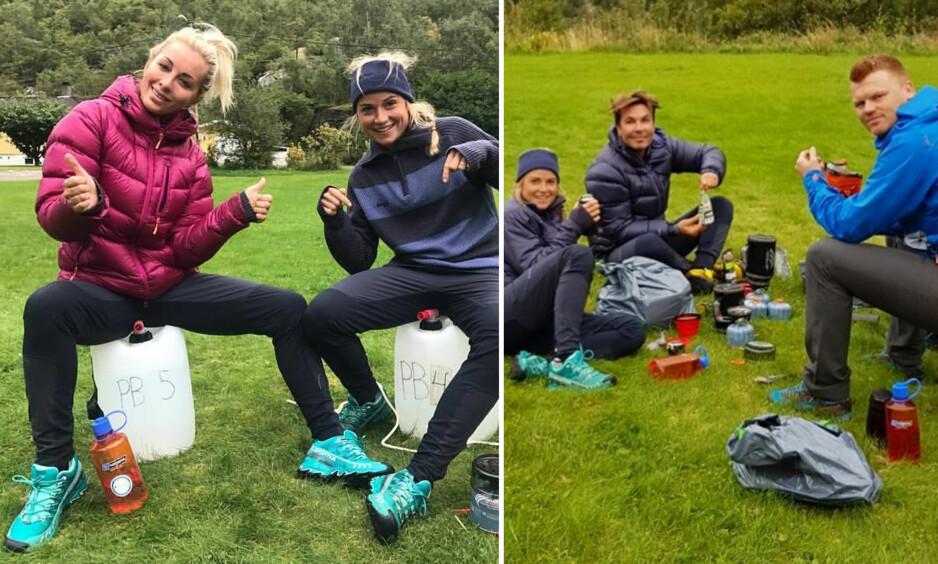 SOSIALE MEDIER: Carina Dahl, Marthe Kristoffersen, Jan Thomas og John Arne Riise er alle deltakere i «71 grader nord». Flere av deltakerne har delt bilder fra innspillingen på sosiale medier. Foto: Skjermdump Instagram
