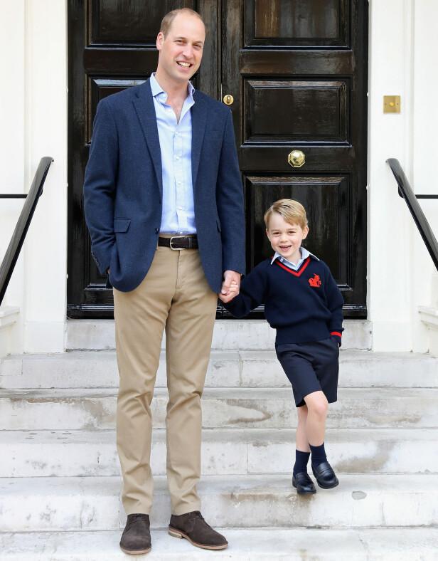 SKOLEGUTT: Vesle prins George begynte på skolen i forrige uke og var tydelig spent. Foto: Pa Photos