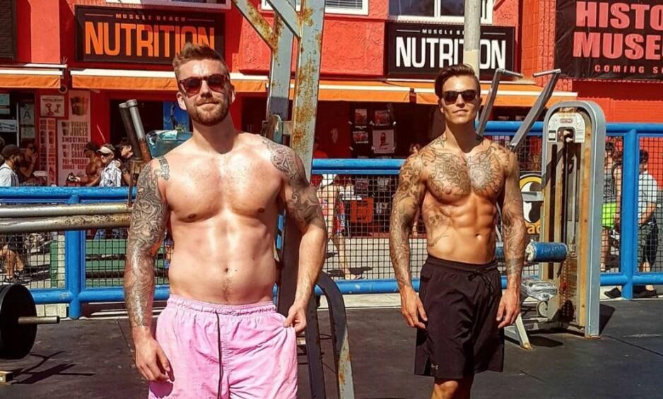 BARSKE KARER: På Muscle Beach i Los Angeles viste Stian Blipp og Atle Pettersen hvorfor de er så populære blant damene. Foto: Stian Blipp/Instagram