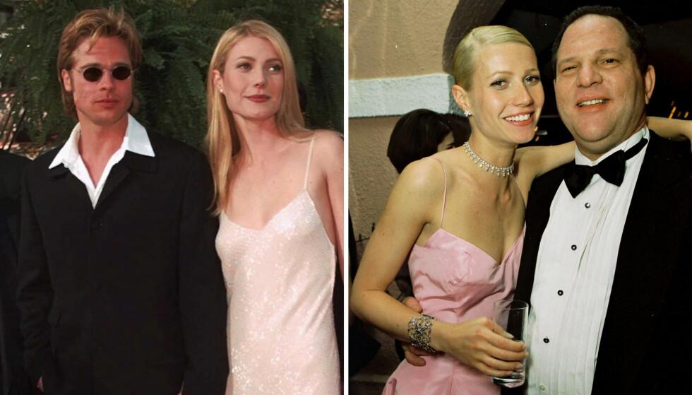 BLE RASENDE: Da Brad Pitt fant ut at kjæresten Gwyneth Platrow hadde blitt seksuelt trakassert av filmprodusent Harvey Weinstein (t.h.), skal han ha truet med å banke opp den mektige Hollywood-mannen. Foto: NTB scanpix