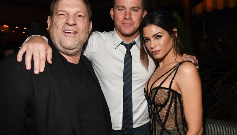 <strong>MEKTIG MANN:</strong> Harvey Weinstein, Channing Tatum og Jenna Dewan avbildet på «The Hateful Eight»-premieren i L.A. før jul I 2015. Foto: Michael Buckner/Variety/REX/Shutterstock/ NTB scanpix