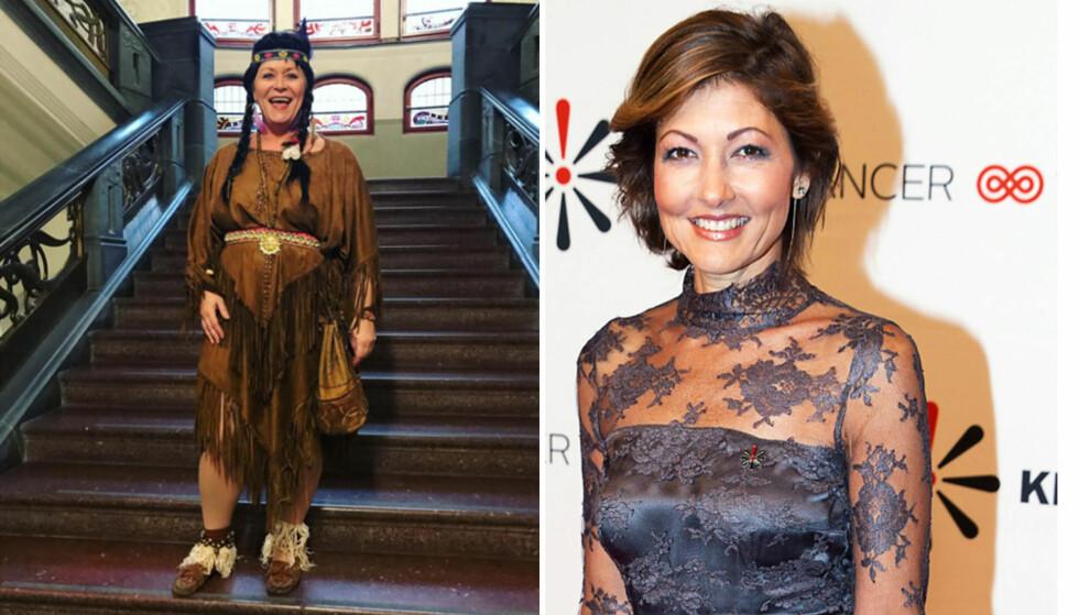 INDIANER: Siv Jensen har fått massiv kritikk for å kle seg ut som en indianer. Danske grevinne Alexandra har nylig også valgt samme kostyme. Foto: Skjermdump, Instagram / NTB Scanpix