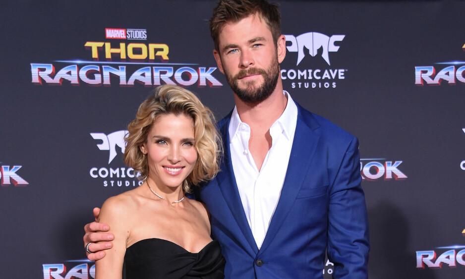 <strong>PÅ RØD LØPER:</strong> Her er ekteparet sammen på rød løper før premieren av filmen Thor: Ragnarok tidligere denne måneden. Foto: NTB Scanpix