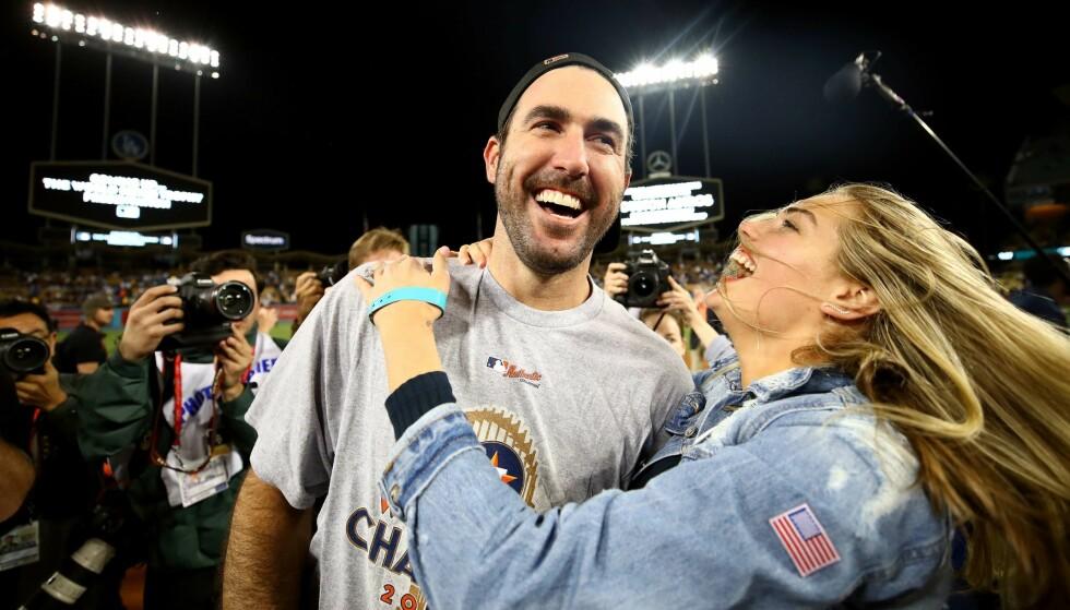 I EKSTASE: Kate Upton og Justin Verlander. Foto: Ezra Shaw/Getty Images/AFP/ NTB scanpix
