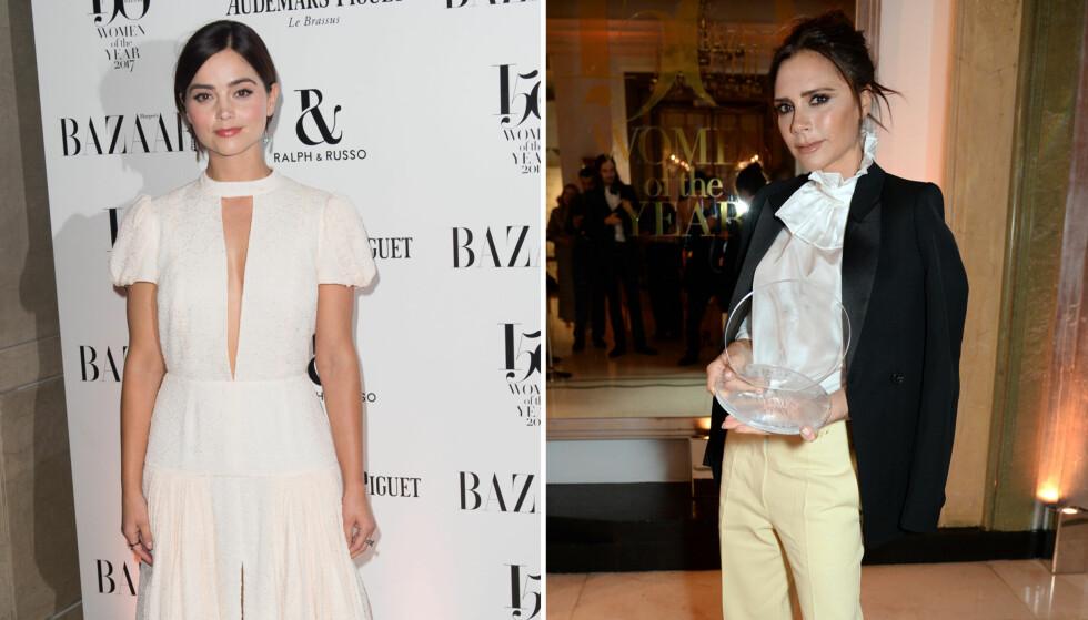 STJERNESPEKKET FEST: Victoria Beckham (t.h.) er vant til å stjele rampelyset på fest, men under Harper's Bazaar Women Of The Year Awards ble hun satt i skyggen av «Victoria»-stjernen Jenna Coleman. Foto: NTB Scanpix